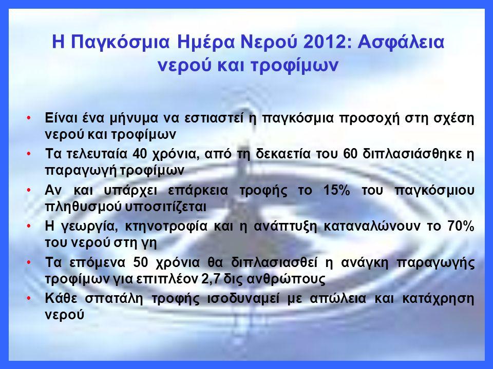 H Παγκόσμια Ημέρα Νερού 2012: Ασφάλεια νερού και τροφίμων •Είναι ένα μήνυμα να εστιαστεί η παγκόσμια προσοχή στη σχέση νερού και τροφίμων •Τα τελευταί