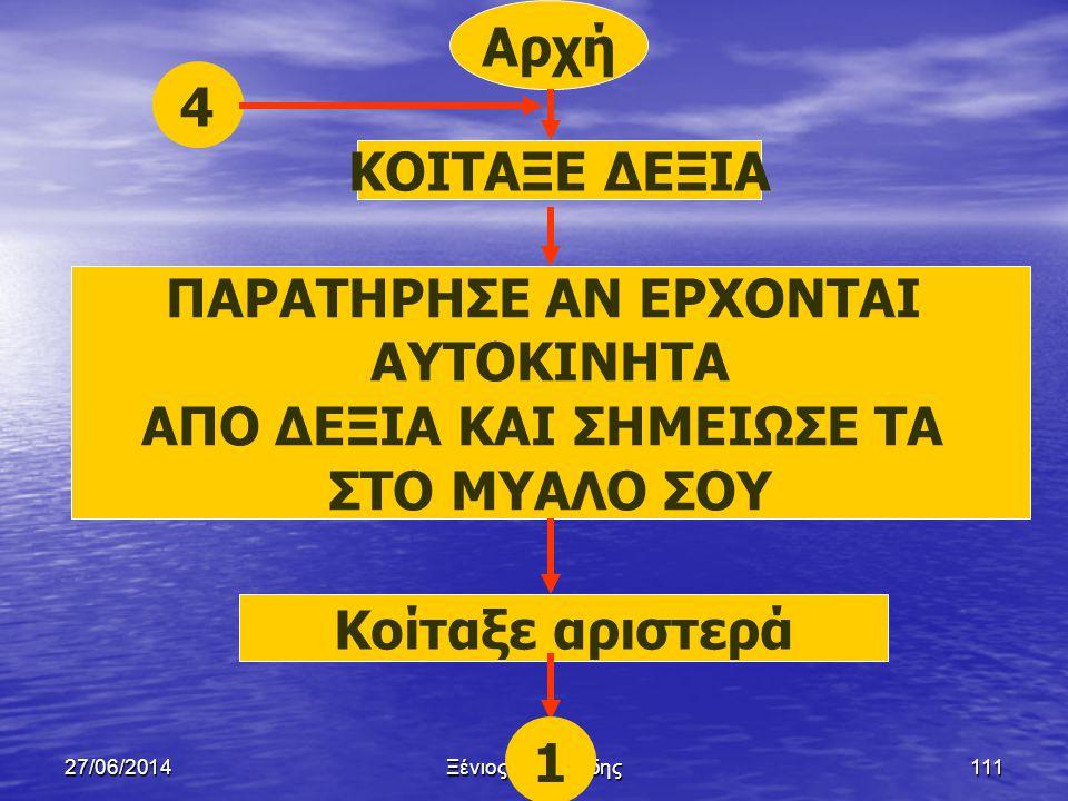 27/06/2014Ξένιος Αντωνιάδης110 Παράδειγμα 2  Ένα παιδί θέλει να διασταυρώσει ένα πολυσύχναστο δρόμο.Να γραφεί αλγόριθμος με χρήση λογικού διαγράμματο