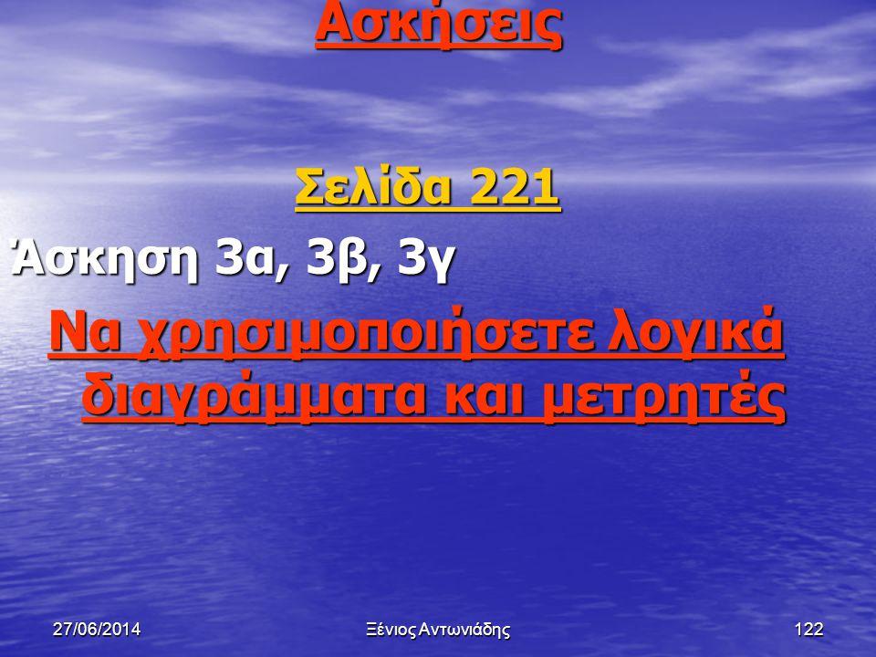 27/06/2014Ξένιος Αντωνιάδης121 Βιβλιογραφία • Βιβλίο Ε.Σ.Η.Υ (Α΄ Λυκείου) Σελ (216-218) Σελ (216-218)
