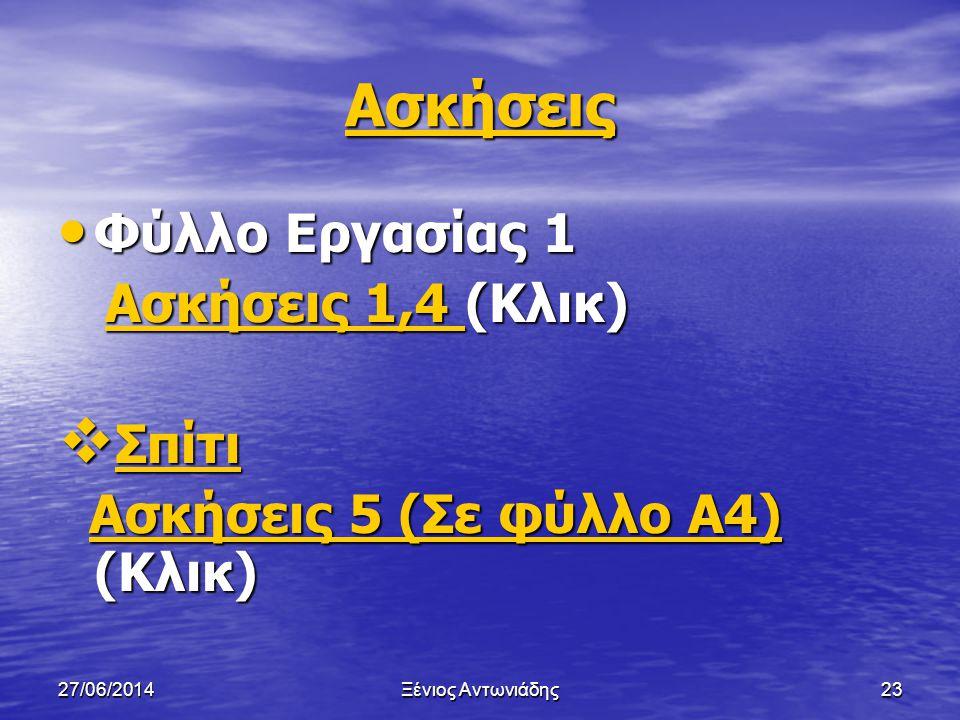 27/06/2014Ξένιος Αντωνιάδης22 Χαρακτηριστικά καλού αλγορίθμου • Οικονομικός (Να μην χρησιμοποιεί θέσεις μνήμης (Μεταβλητές) που δεν είναι απαραίτητες)