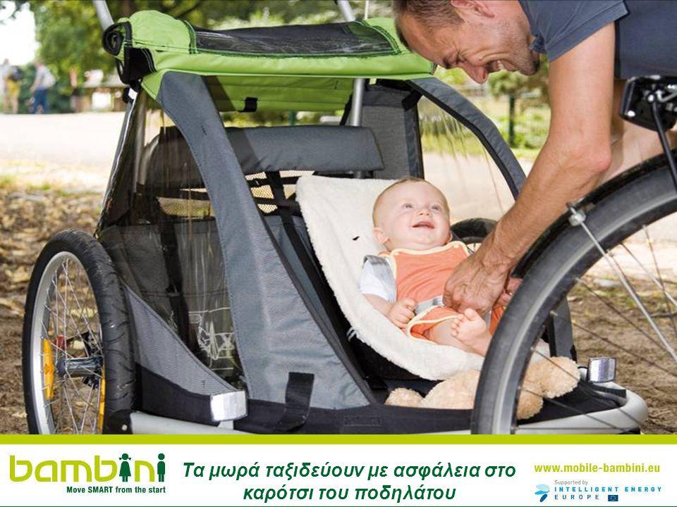 Τα μωρά ταξιδεύουν με ασφάλεια στο καρότσι του ποδηλάτου