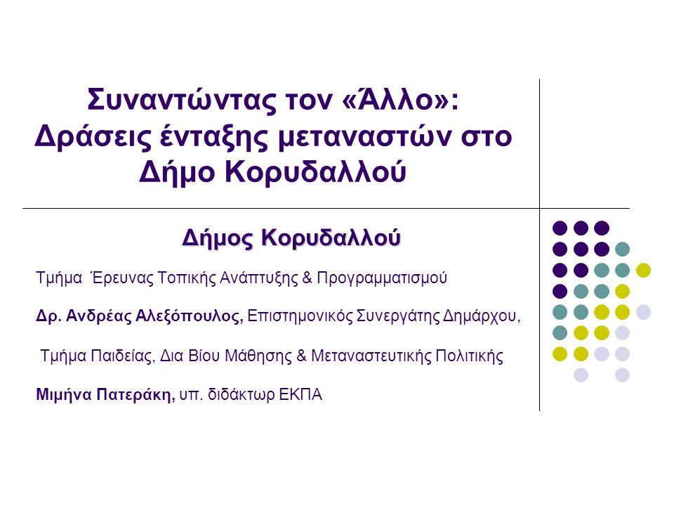 Συναντώντας τον «Άλλο»: Δράσεις ένταξης μεταναστών στο Δήμο Κορυδαλλού Δήμος Κορυδαλλού Τμήμα Έρευνας Τοπικής Ανάπτυξης & Προγραμματισμού Δρ.