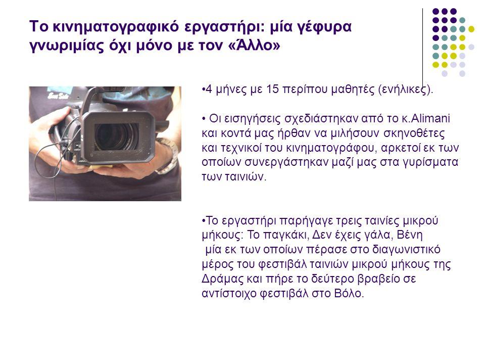 Το κινηματογραφικό εργαστήρι: μία γέφυρα γνωριμίας όχι μόνο με τον «Άλλο» •4 μήνες με 15 περίπου μαθητές (ενήλικες).
