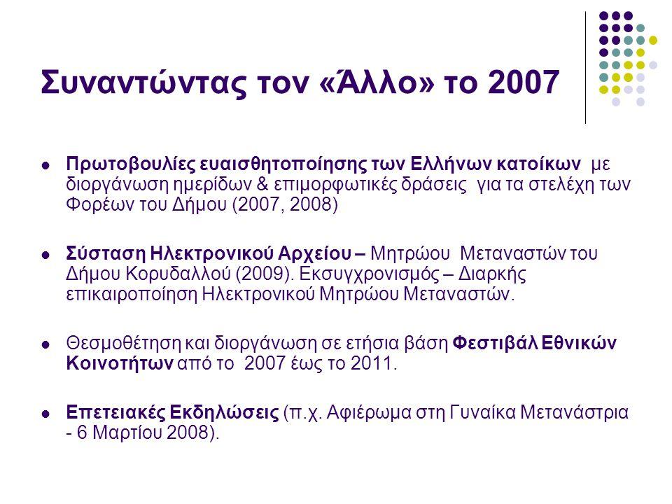 Συναντώντας τον «Άλλο» το 2007  Πρωτοβουλίες ευαισθητοποίησης των Ελλήνων κατοίκων με διοργάνωση ημερίδων & επιμορφωτικές δράσεις για τα στελέχη των Φορέων του Δήμου (2007, 2008)  Σύσταση Ηλεκτρονικού Αρχείου – Μητρώου Μεταναστών του Δήμου Κορυδαλλού (2009).