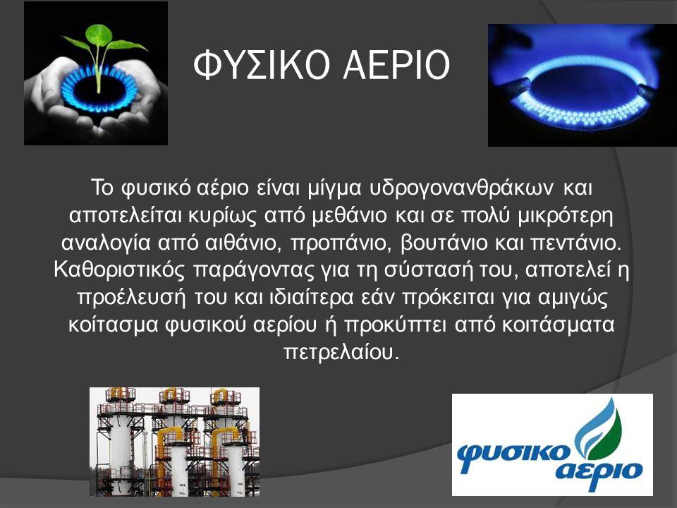 ΦΥΣΙΚΟ ΑΕΡΙΟ Το φυσικό αέριο είναι μίγμα υδρογονανθράκων και αποτελείται κυρίως από μεθάνιο και σε πολύ μικρότερη αναλογία από αιθάνιο, προπάνιο, βουτ