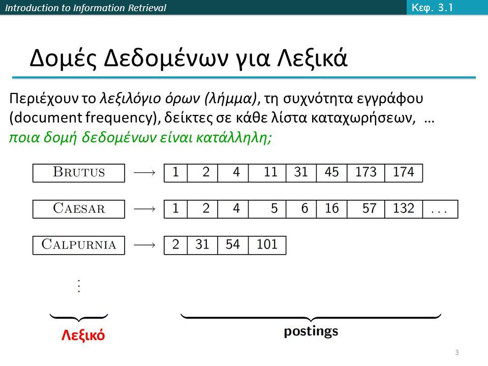 Introduction to Information Retrieval Δομές δεδομένων για το Λεξικό  Δυο βασικές επιλογές:  Πίνακες Κατακερματισμού (Hashtables)  Δέντρα (Trees)  Μερικά Συστήματα Ανάκτησης Πληροφορίας χρησιμοποιούν πίνακες κατακερματισμού άλλα δέντρα Κεφ.