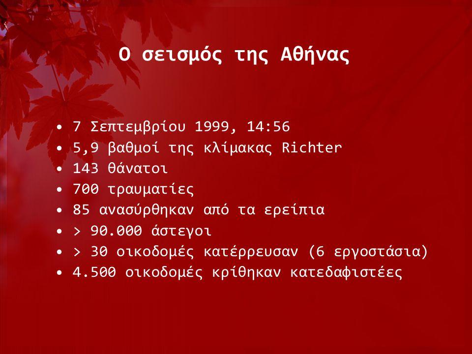 Ο σεισμός της Αθήνας •7 Σεπτεμβρίου 1999, 14:56 •5,9 βαθμοί της κλίμακας Richter •143 θάνατοι •700 τραυματίες •85 ανασύρθηκαν από τα ερείπια •> 90.000