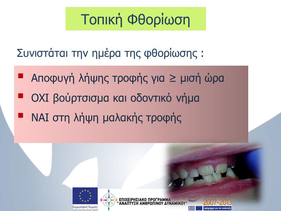  Αποφυγή λήψης τροφής για ≥ μισή ώρα  ΟΧΙ βούρτσισμα και οδοντικό νήμα  ΝΑΙ στη λήψη μαλακής τροφής Τοπική Φθορίωση Συνιστάται την ημέρα της φθορίω