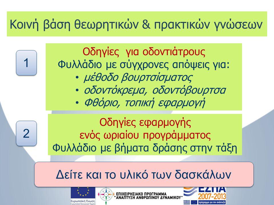 Οδηγίες για οδοντιάτρους Φυλλάδιο με σύγχρονες απόψεις για: • μέθοδο βουρτσίσματος • οδοντόκρεμα, οδοντόβουρτσα • Φθόριο, τοπική εφαρμογή Οδηγίες εφαρ