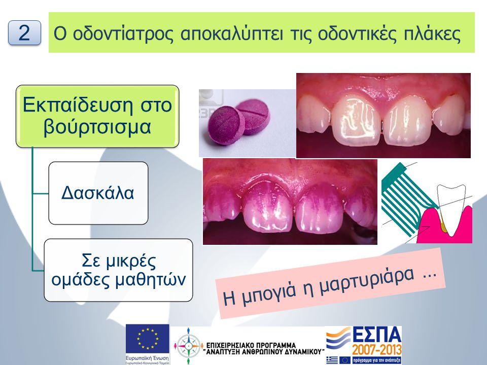 Ενδοστοματική εξέταση   Καταγραφή αδρών θεραπευτικών αναγκών (τερηδονικές βλάβες αρχόμενες / κοιλότητες, οδοντικά τραύματα, ορθοδοντικά προβλήματα, ουλίτιδα, συρίγγιο,..)   Τοπική Φθορίωση   Συμπλήρωση του Ενημερωτικού δελτίου γονέων (αδρές θεραπευτικές ανάγκες) 3 3