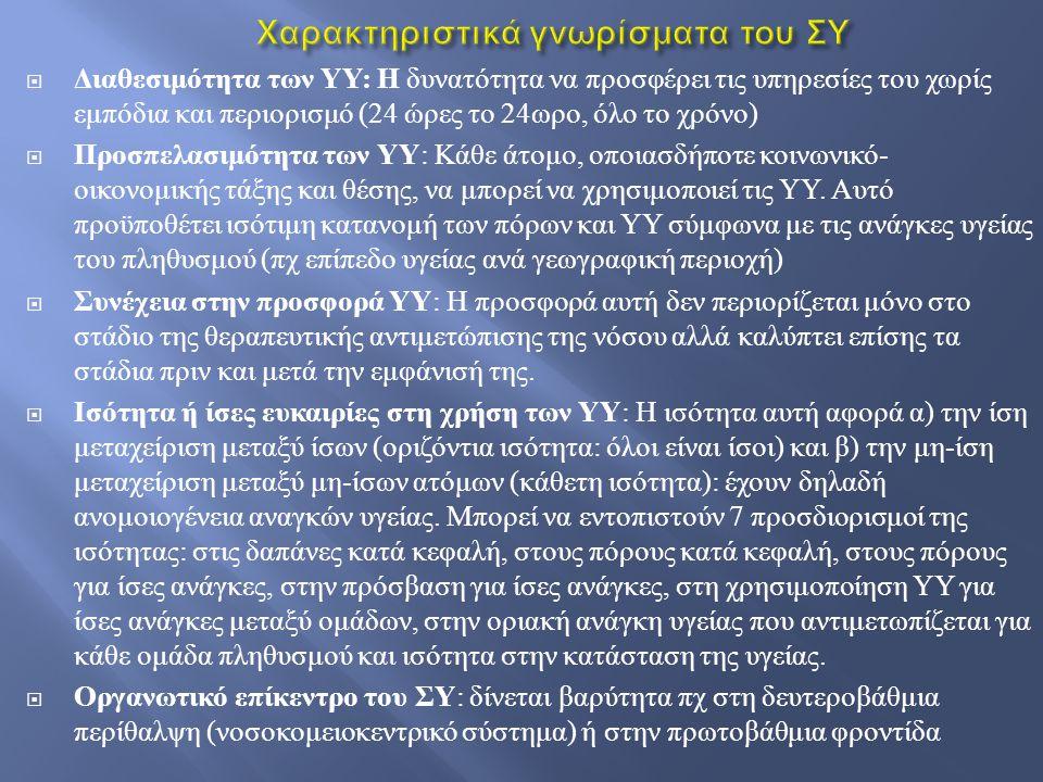  Διαθεσιμότητα των ΥΥ : Η δυνατότητα να προσφέρει τις υπηρεσίες του χωρίς εμπόδια και περιορισμό (24 ώρες το 24 ωρο, όλο το χρόνο )  Προσπελασιμότητ