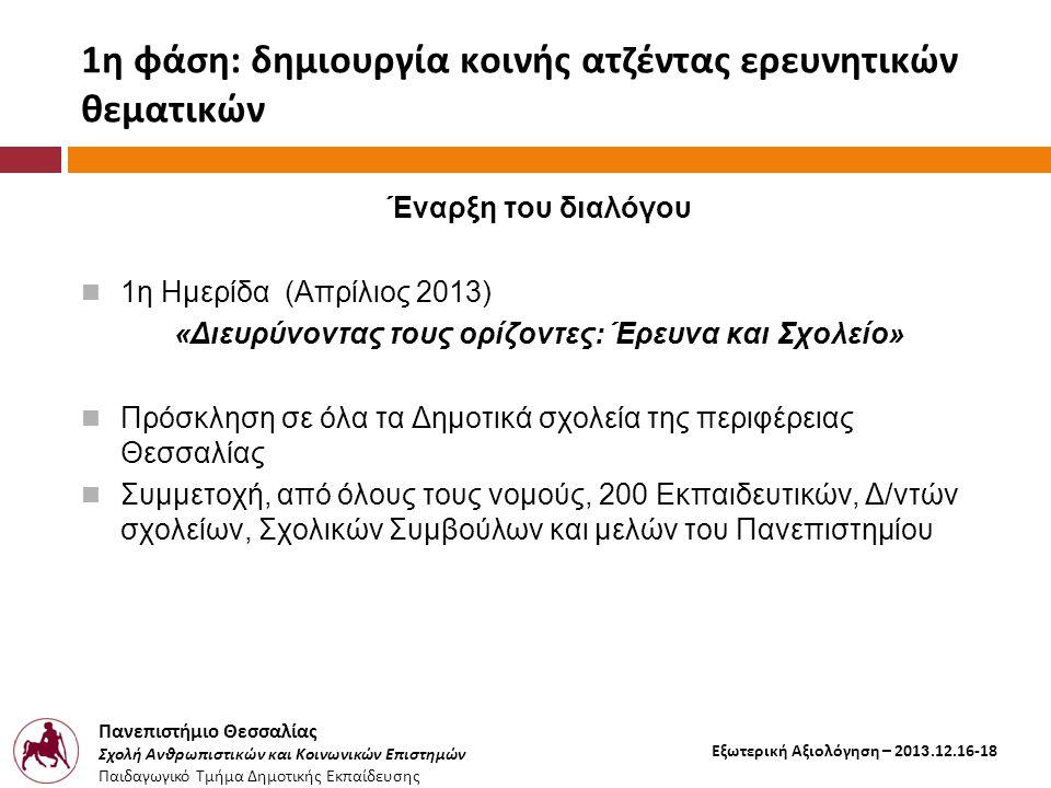 Πανεπιστήμιο Θεσσαλίας Σχολή Ανθρωπιστικών και Κοινωνικών Επιστημών Παιδαγωγικό Τμήμα Δημοτικής Εκπαίδευσης Εξωτερική Αξιολόγηση – 2013.12.16-18 1η φάση: δημιουργία κοινής ατζέντας ερευνητικών θεματικών Έναρξη του διαλόγου  1η Ημερίδα (Απρίλιος 2013) «Διευρύνοντας τους ορίζοντες: Έρευνα και Σχολείο»  Πρόσκληση σε όλα τα Δημοτικά σχολεία της περιφέρειας Θεσσαλίας  Συμμετοχή, από όλους τους νομούς, 200 Εκπαιδευτικών, Δ/ντών σχολείων, Σχολικών Συμβούλων και μελών του Πανεπιστημίου
