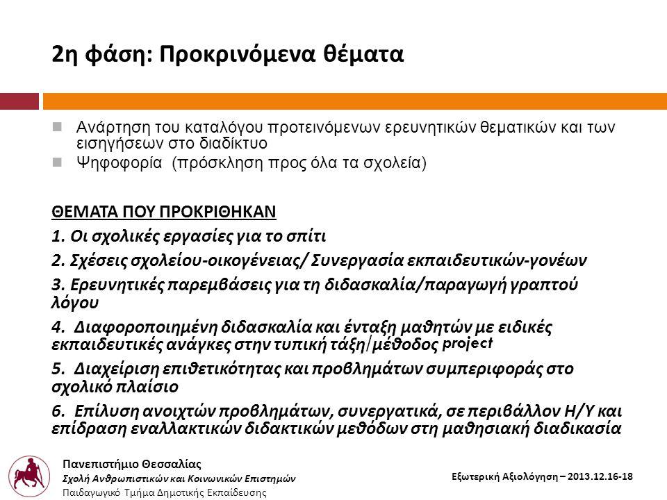 Πανεπιστήμιο Θεσσαλίας Σχολή Ανθρωπιστικών και Κοινωνικών Επιστημών Παιδαγωγικό Τμήμα Δημοτικής Εκπαίδευσης Εξωτερική Αξιολόγηση – 2013.12.16-18 2η φάση: Προκρινόμενα θέματα  Ανάρτηση του καταλόγου προτεινόμενων ερευνητικών θεματικών και των εισηγήσεων στο διαδίκτυο  Ψηφοφορία (πρόσκληση προς όλα τα σχολεία) ΘΕΜΑΤΑ ΠΟΥ ΠΡΟΚΡΙΘΗΚΑΝ 1.