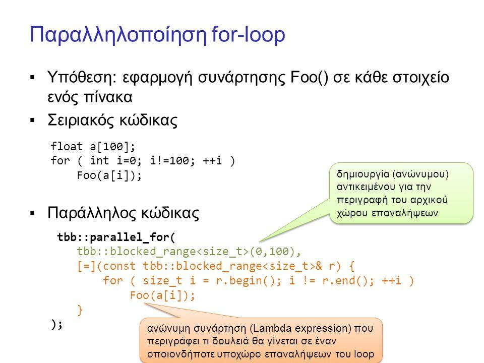 Παραλληλοποίηση for-loop  Υπόθεση: εφαρμογή συνάρτησης Foo() σε κάθε στοιχείο ενός πίνακα  Σειριακός κώδικας  Παράλληλος κώδικας float a[100]; for ( int i=0; i!=100; ++i ) Foo(a[i]); tbb::parallel_for( tbb::blocked_range (0,100), [=](const tbb::blocked_range & r) { for ( size_t i = r.begin(); i != r.end(); ++i ) Foo(a[i]); } ); δημιουργία (ανώνυμου) αντικειμένου για την περιγραφή του αρχικού χώρου επαναλήψεων ανώνυμη συνάρτηση (Lambda expression) που περιγράφει τι δουλειά θα γίνεται σε έναν οποιονδήποτε υποχώρο επαναλήψεων του loop