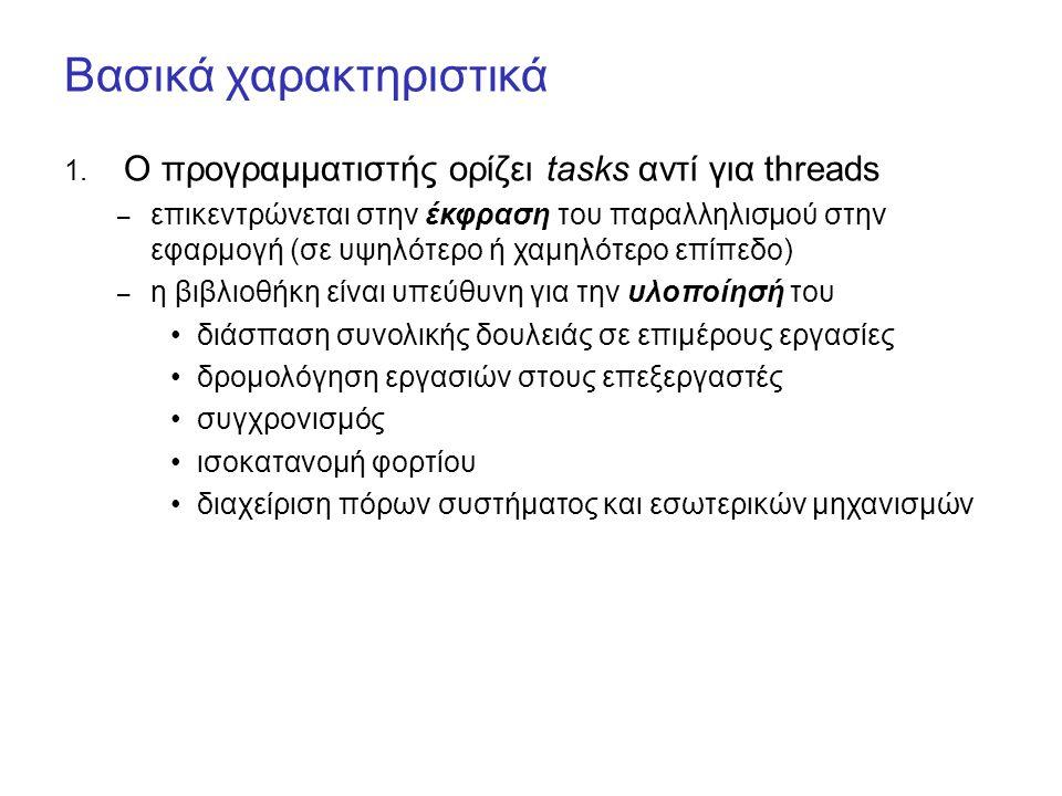 Λειτουργία parallel_for 0 N P0 P1 P2 P3 A A A