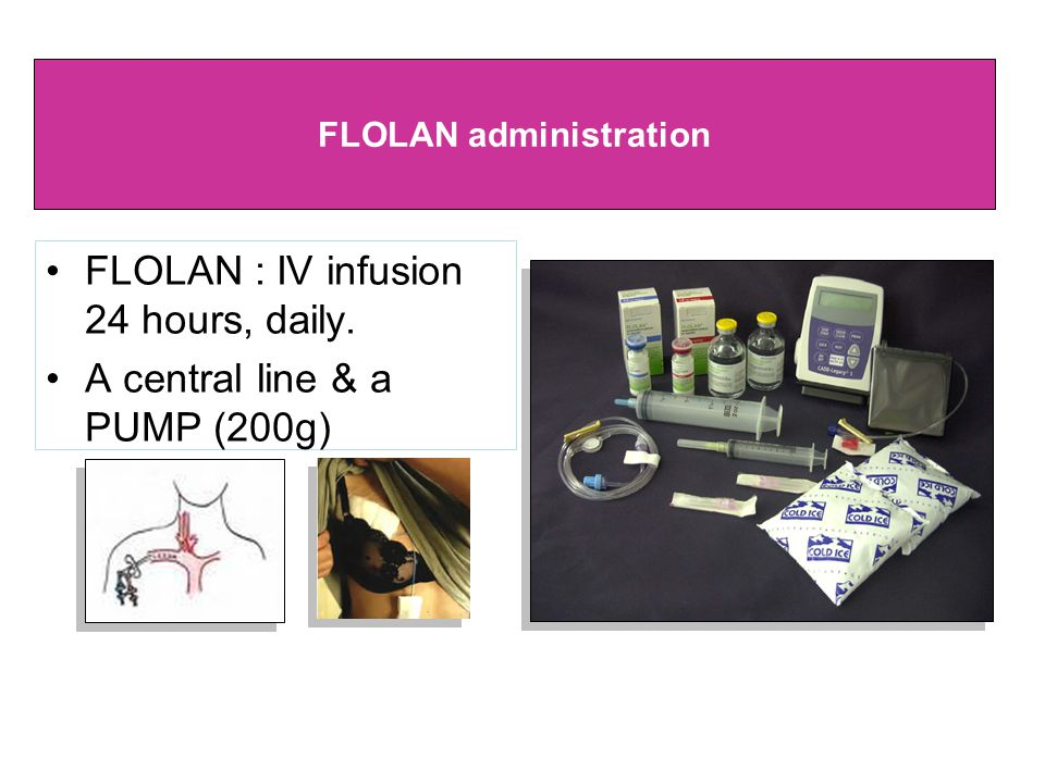 •FLOLAN : IV infusion 24 hours, daily. •A central line & a PUMP (200g) FLOLAN administration