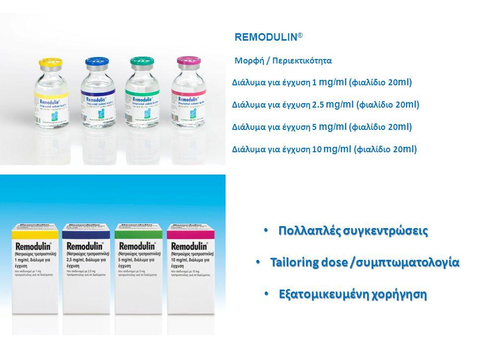 • Πολλαπλές συγκεντρώσεις • Tailoring dose /συμπτωματολογία • Εξατομικευμένη χορήγηση REMODULIN ® Μορφή / Περιεκτικότητα Διάλυμα για έγχυση 1 mg/ml (