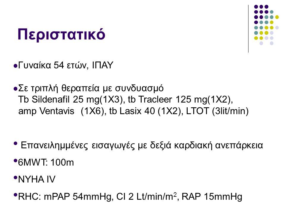  Γυναίκα 54 ετών, ΙΠΑΥ  Σε τριπλή θεραπεία με συνδυασμό Tb Sildenafil 25 mg(1X3), tb Tracleer 125 mg(1X2), amp Ventavis (1X6), tb Lasix 40 (1X2), LT