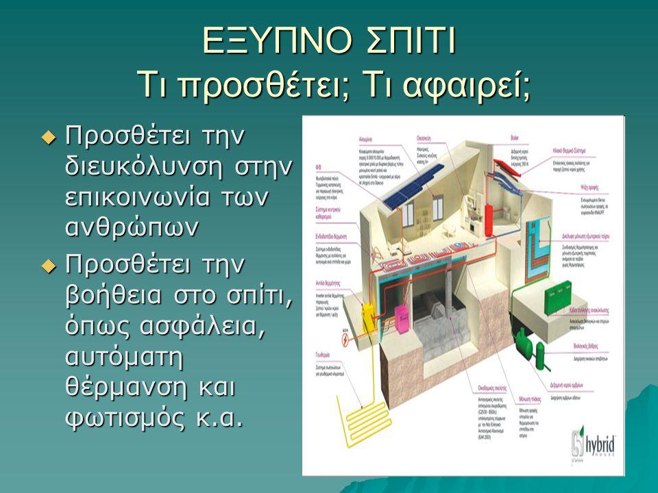 ΕΞΥΠΝΟ ΣΠΙΤΙ Τι προσθέτει; Τι αφαιρεί;  Προσθέτει την διευκόλυνση στην επικοινωνία των ανθρώπων  Προσθέτει την βοήθεια στο σπίτι, όπως ασφάλεια, αυτ