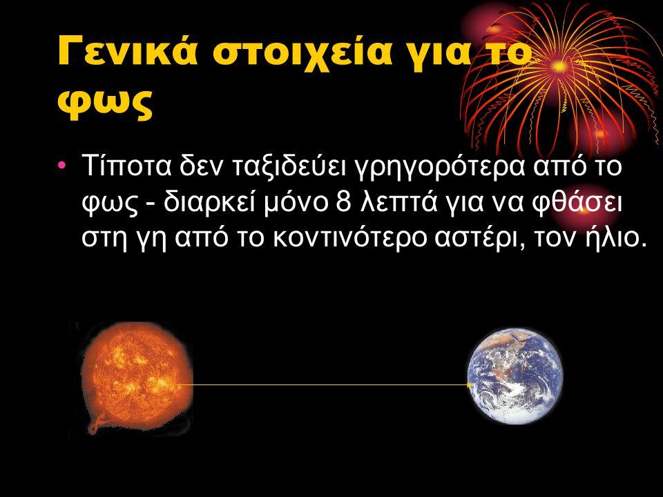 Γενικά στοιχεία για το φως •Τίποτα δεν ταξιδεύει γρηγορότερα από το φως - διαρκεί μόνο 8 λεπτά για να φθάσει στη γη από το κοντινότερο αστέρι, τον ήλι