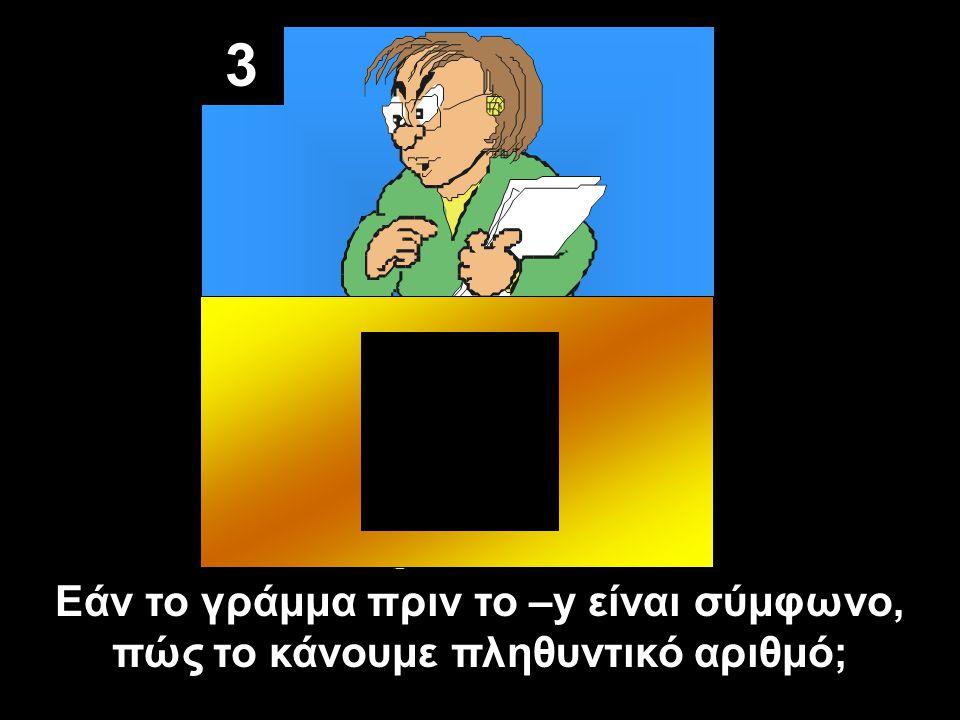 3 Εάν το γράμμα πριν το –y είναι σύμφωνο, πώς το κάνουμε πληθυντικό αριθμό;