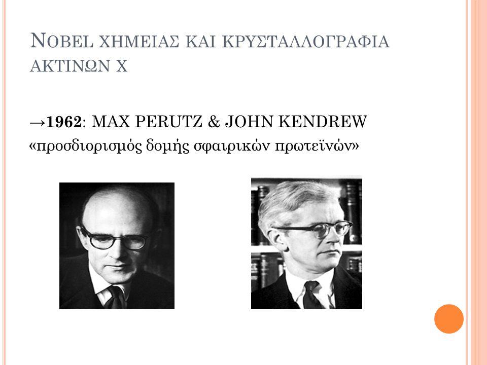 N OBEL ΧΗΜΕΙΑΣ ΚΑΙ ΚΡΥΣΤΑΛΛΟΓΡΑΦΙΑ ΑΚΤΙΝΩΝ Χ → 1962 : MAX PERUTZ & JOHN KENDREW «προσδιορισμός δομής σφαιρικών πρωτεϊνών»