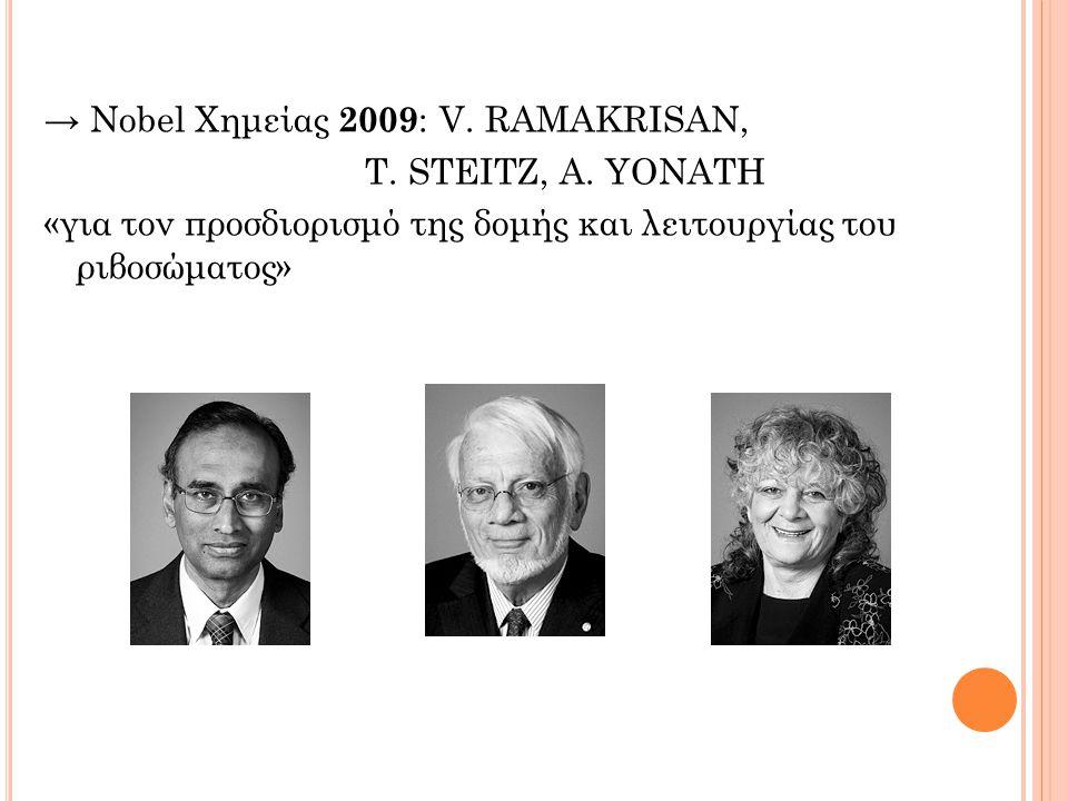 → Νobel Χημείας 2009 : V.RAMAKRISAN, T. STΕΙΤΖ, A.