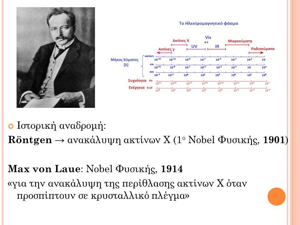 Ιστορική αναδρομή: Röntgen → ανακάλυψη ακτίνων X (1 ο Nobel Φυσικής, 1901 ) Μax von Laue : Νobel Φυσικής, 1914 «για την ανακάλυψη της περίθλασης ακτίνων Χ όταν προσπίπτουν σε κρυσταλλικό πλέγμα»