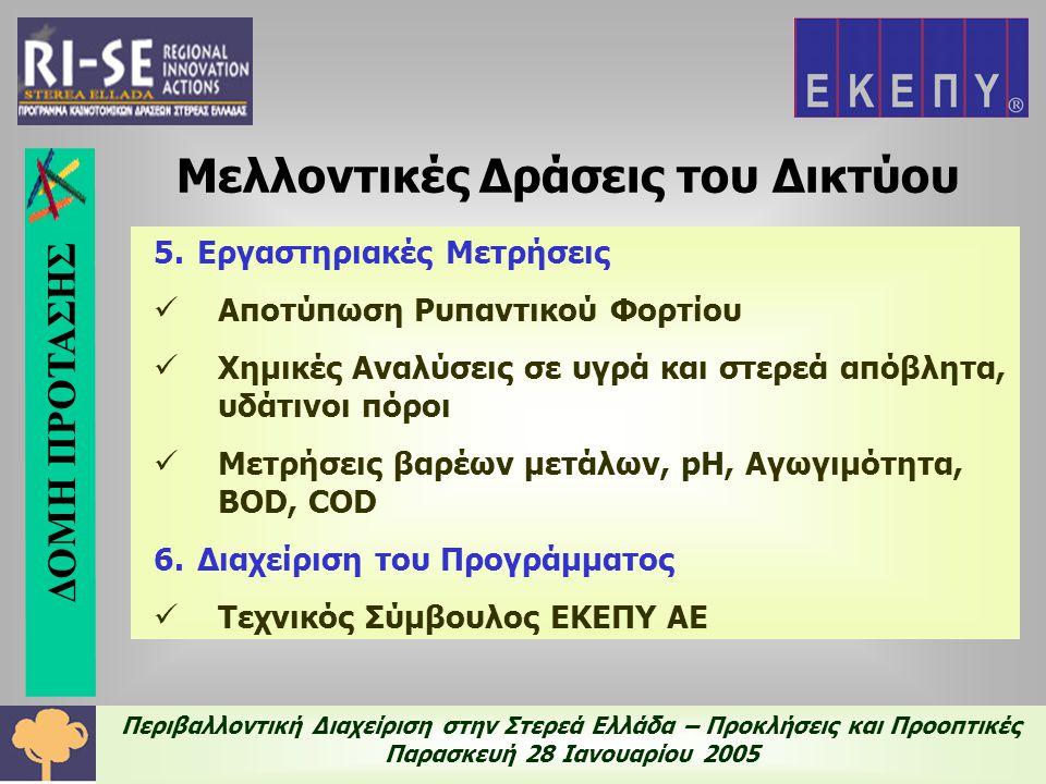 Περιβαλλοντική Διαχείριση στην Στερεά Ελλάδα – Προκλήσεις και Προοπτικές Παρασκευή 28 Ιανουαρίου 2005 5.Εργαστηριακές Μετρήσεις  Αποτύπωση Ρυπαντικού Φορτίου  Χημικές Αναλύσεις σε υγρά και στερεά απόβλητα, υδάτινοι πόροι  Μετρήσεις βαρέων μετάλων, pH, Αγωγιμότητα, BOD, COD 6.Διαχείριση του Προγράμματος  Τεχνικός Σύμβουλος ΕΚΕΠΥ ΑΕ Μελλοντικές Δράσεις του Δικτύου ΔΟΜΗ ΠΡΟΤΑΣΗΣ
