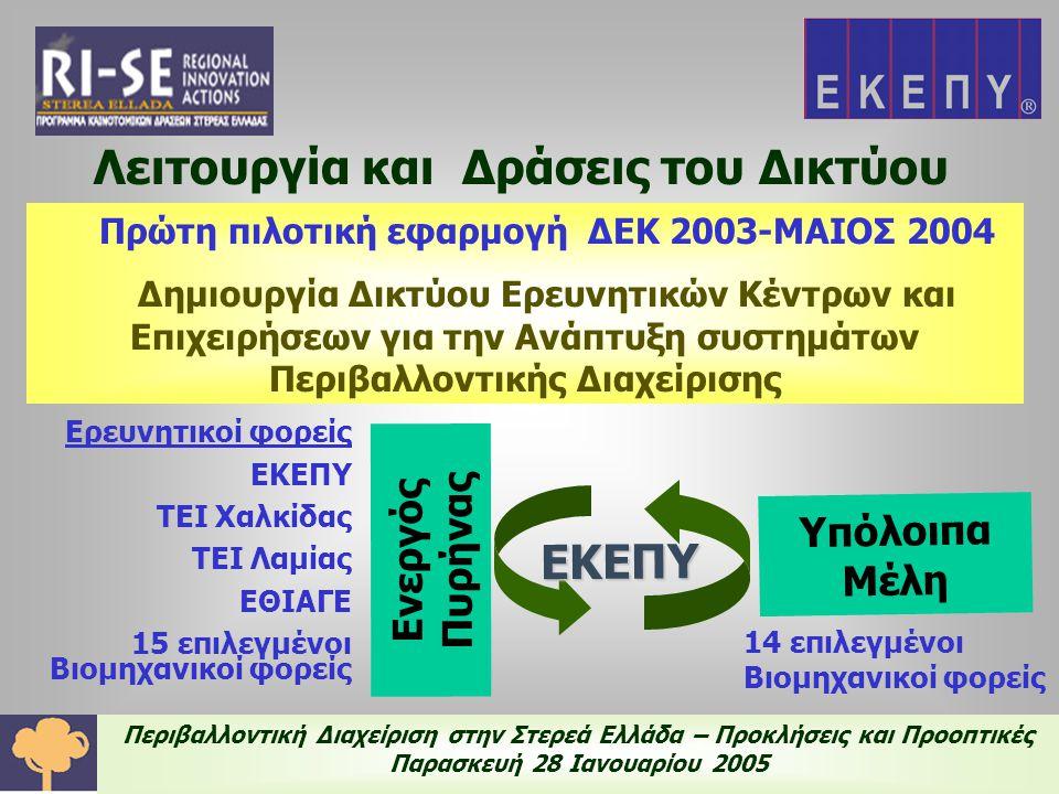Περιβαλλοντική Διαχείριση στην Στερεά Ελλάδα – Προκλήσεις και Προοπτικές Παρασκευή 28 Ιανουαρίου 2005 Λειτουργία και Δράσεις του Δικτύου Σκοπός του Δικτύου είναι η βελτίωση της περιβαλλοντικής κατάστασης της ευρύτερης περιοχής, μέσα από διαρκή αλληλοενημέρωση και συνεργασία των μελών του ☞ Μακροπρόθεσμη Λειτουργία του Δικτύου ☞ 'Ιδρυση απο την ΕΚΕΠΥ αυτοτελούς Υπηρεσίας Βιομηχανικών Αποβλήτων ☞ Καθιέρωση μηχανισμών διαρκούς παρακολούθησης των πηγών ρύπανσης και η αποτίμηση του είδους και της ποσότητας των ρύπων