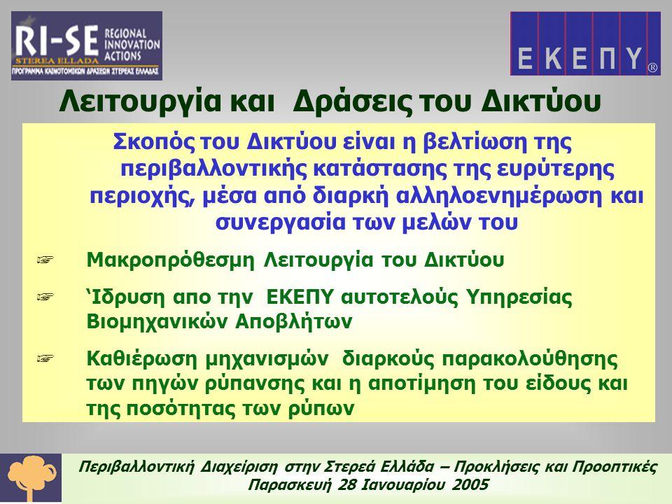Περιβαλλοντική Διαχείριση στην Στερεά Ελλάδα – Προκλήσεις και Προοπτικές Παρασκευή 28 Ιανουαρίου 2005 Η Δράση του Δικτύου μετά το πέρας του RISE 13.05.2004 - Συνάντηση των μελών του Δικτύου στην ΕΑΒ 09.07.2004 - Συνάντηση των μελών του Δικτύου στην ΤΙΤΑΝ Συμμετοχή της ΕΚΕΠΥ σε ημερίδες Μεταφοράς Τεχνολογίας Συνεχής Ενημέρωση του portal http://www.cereco.gr/rise_act1/index.html Διαδικτυακή Συζήτηση (forum) Επιμόρφωση νέων επιστημόνων – ΚΕΚ Ευβοϊκή Ανάπτυξη