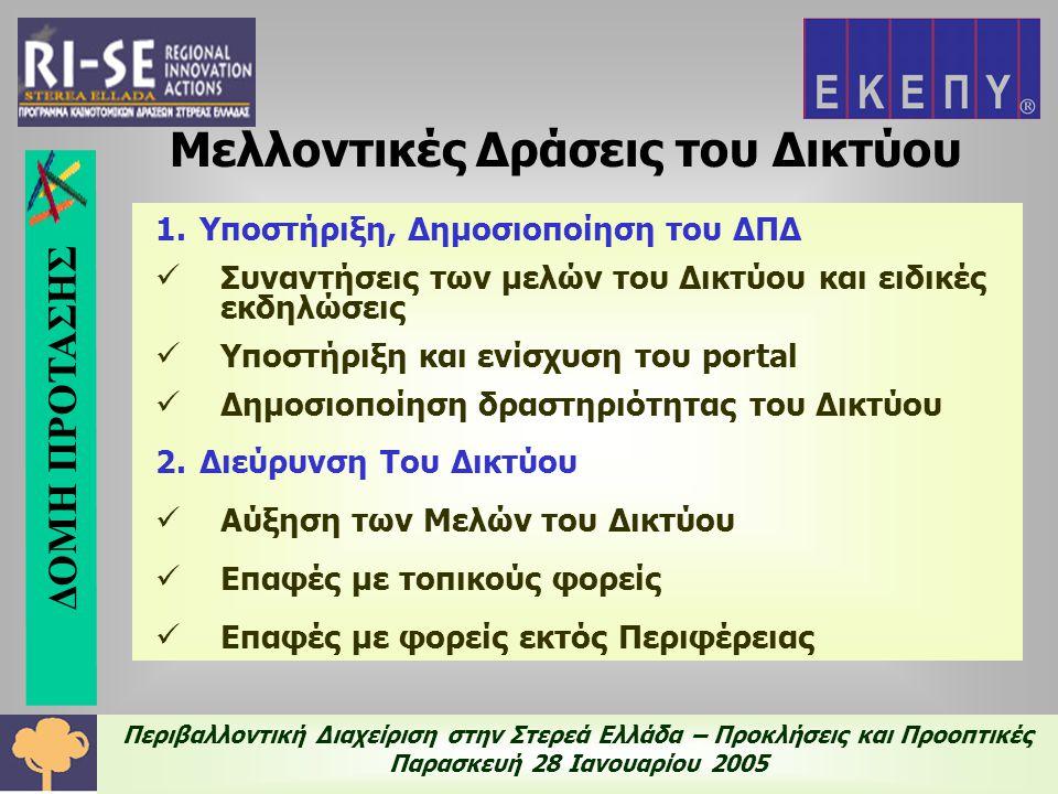 Περιβαλλοντική Διαχείριση στην Στερεά Ελλάδα – Προκλήσεις και Προοπτικές Παρασκευή 28 Ιανουαρίου 2005 Ευρωπαϊκή Δικτύωση της ΕΚΕΠΥ  Προτάσεις για την επίλυση περιβαλλοντικών προβλημάτων σχετικά με νερό, αέρα, στερεά απόβλητα, καθαρές τεχνολογίες  Παρακολούθηση και ενημέρωση για σχετικές προκηρύξεις  Συμβουλευτικές υπηρεσίες στην συγγραφή προτάσεων  Βάσεις δεδομένων με δυνητικούς εταίρους για προγράμματα  Δίκτυο από τοπικά σημεία επαφής για συνεχή επικοινωνία μεταξύ ΜΜΕ και ειδκών του τομέα ΔΙΚΤΥΟ
