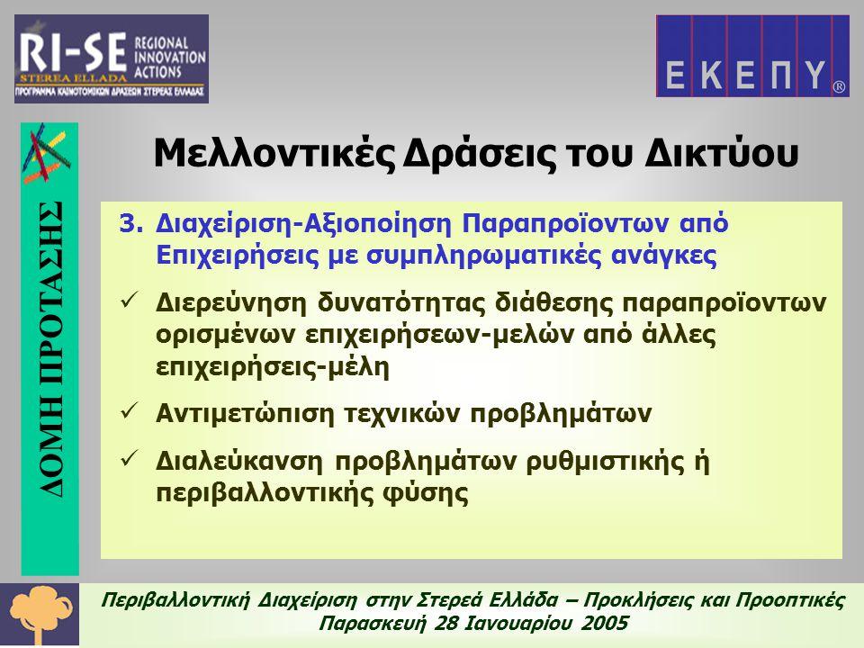 Περιβαλλοντική Διαχείριση στην Στερεά Ελλάδα – Προκλήσεις και Προοπτικές Παρασκευή 28 Ιανουαρίου 2005 3.Διαχείριση-Αξιοποίηση Παραπροϊοντων από Επιχειρήσεις με συμπληρωματικές ανάγκες  Διερεύνηση δυνατότητας διάθεσης παραπροϊοντων ορισμένων επιχειρήσεων-μελών από άλλες επιχειρήσεις-μέλη  Αντιμετώπιση τεχνικών προβλημάτων  Διαλεύκανση προβλημάτων ρυθμιστικής ή περιβαλλοντικής φύσης Μελλοντικές Δράσεις του Δικτύου ΔΟΜΗ ΠΡΟΤΑΣΗΣ