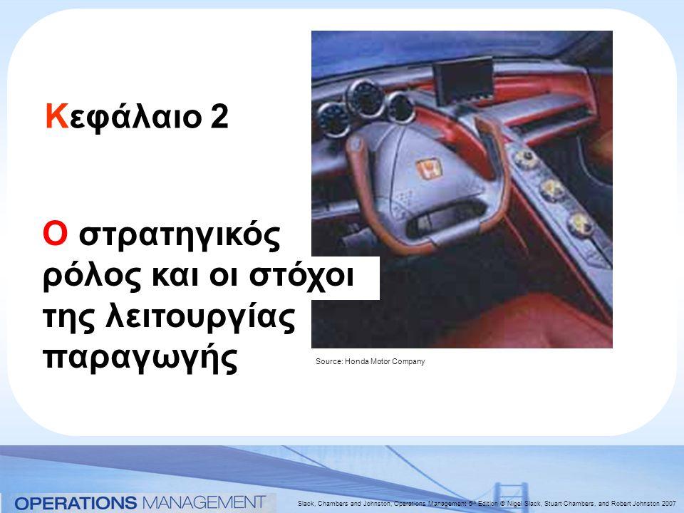 Slack, Chambers and Johnston, Operations Management 5 th Edition © Nigel Slack, Stuart Chambers, and Robert Johnston 2007 Κεφάλαιο 2 Ο στρατηγικός ρόλος και οι στόχοι της λειτουργίας παραγωγής Source: Honda Motor Company