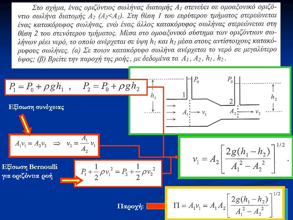 Eξίσωση συνέχειας Εξίσωση Bernoulli για οριζόντια ροή Παροχή: