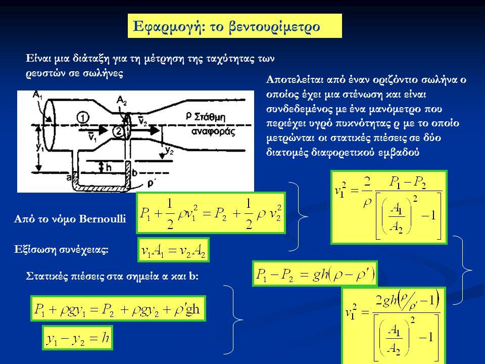 Εφαρμογή: το βεντουρίμετρο Αποτελείται από έναν οριζόντιο σωλήνα ο οποίος έχει μια στένωση και είναι συνδεδεμένος με ένα μανόμετρο που περιέχει υγρό π