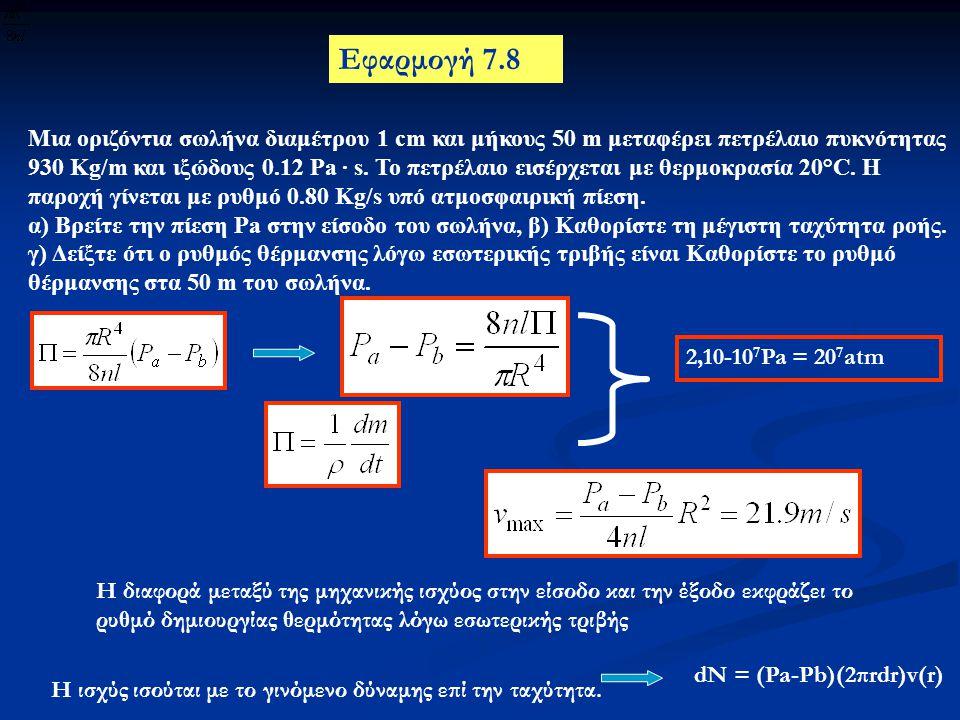 Εφαρμογή 7.8 Μια οριζόντια σωλήνα διαμέτρου 1 cm και μήκους 50 m μεταφέρει πετρέλαιο πυκνότητας 930 Kg/m και ιξώδους 0.12 Pa · s. To πετρέλαιο εισέρχε