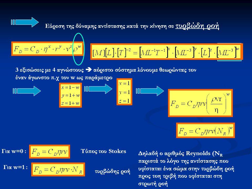 Εύρεση της δύναμης αντίστασης κατά την κίνηση σε τυρβώδη ροή 3 εξισώσεις με 4 αγνώστους  αόριστο σύστημα λύνουμε θεωρώντας τον έναν άγωνστο π.χ τον w