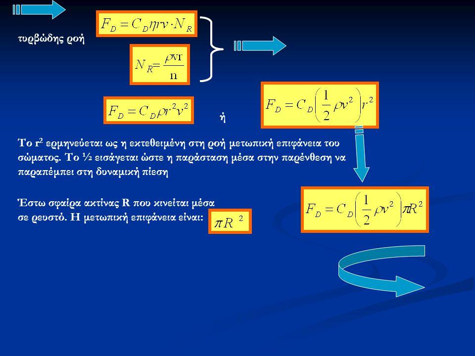 ή τυρβώδης ροή Το r 2 ερμηνεύεται ως η εκτεθειμένη στη ροή μετωπική επιφάνεια του σώματος. Το ½ εισάγεται ώστε η παράσταση μέσα στην παρένθεση να παρα