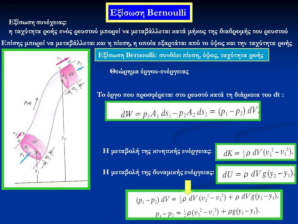 Αριθμός Reynolds Μια στρωτή ροή μπορεί να μεταπέσει σε τυρβώδη όταν μεγαλώσει αρκετά η ταχύτητα Κρίσιμη ταχύτητα: η ταχύτητα στην οποία συμβαίνει η μετάβαση από τη στρωτή στη τυρβώδη ροή Υπολογισμός της κρίσιμης ταχύτητας: Η ταχύτητα θα πρέπει να εξαρτάται από: •Το ιξώδες του υγρού η •Την ακτίνα του σωλήνα R •Την πυκνότητα του υγρού ρ (η ροή είναι τυρβώδης άρα υπάρχει επιταχυνόμενη κίνηση άρα παίζει ρόλο η αδράνεια του ρευστού)