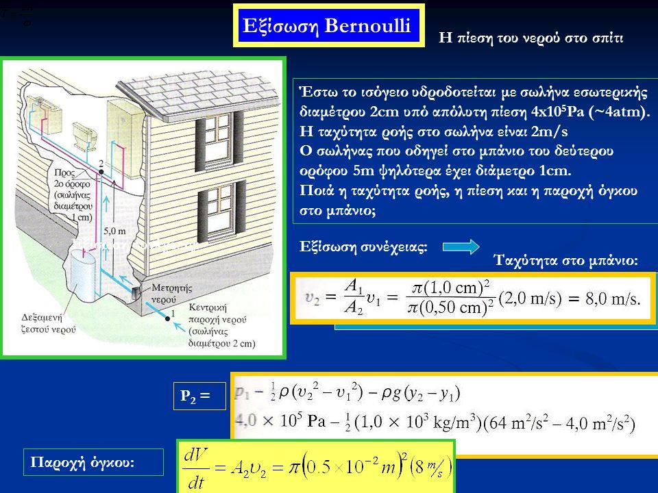 Εξίσωση Bernoulli Η πίεση του νερού στο σπίτι Έστω το ισόγειο υδροδοτείται με σωλήνα εσωτερικής διαμέτρου 2cm υπό απόλυτη πίεση 4x10 5 Pa (~4atm). H τ