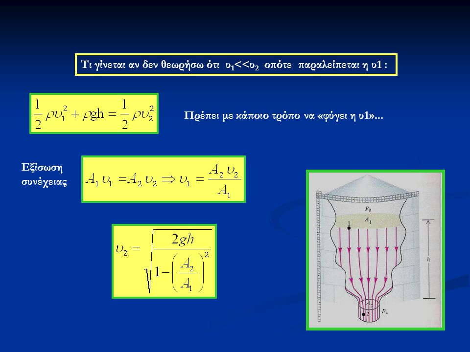 Εφαρμογή του νόμου του Bernulli: ο ψεκαστήρας Η φλέβα του υγρού βγαίνει από την οπή Ο (ακροφύσιο) με μεγάλη ταχύτητα Στη συνέχεια, επειδή πλαταίνει, η ταχύτητά της ελαττώνεται.