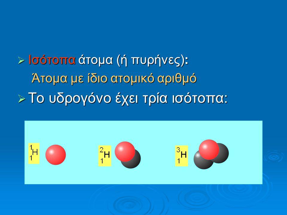  Iσότοπα άτομα (ή πυρήνες): Άτομα με ίδιο ατομικό αριθμό  Το υδρογόνο έχει τρία ισότοπα:
