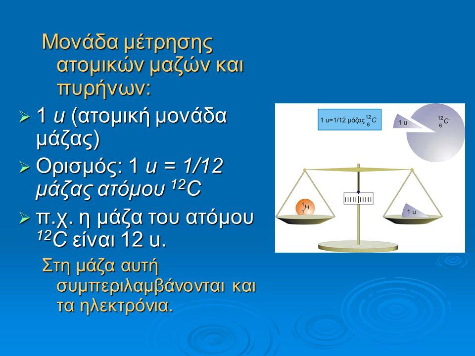 Mονάδα μέτρησης ατομικών μαζών και πυρήνων:  1 u (ατομική μονάδα μάζας)  Ορισμός: 1 u = 1/12 μάζας ατόμου 12 C  π.χ. η μάζα του ατόμου 12 C είναι 1