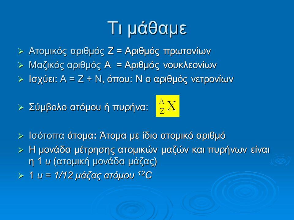 Τι μάθαμε  Aτομικός αριθμός Z = Αριθμός πρωτονίων  Mαζικός αριθμός A = Αριθμός νουκλεονίων  Ισχύει: A = Z + N, όπου: N ο αριθμός νετρονίων  Σύμβολο ατόμου ή πυρήνα:  Iσότοπα άτομα: Άτομα με ίδιο ατομικό αριθμό  Η μονάδα μέτρησης ατομικών μαζών και πυρήνων είναι η 1 u (ατομική μονάδα μάζας)  1 u = 1/12 μάζας ατόμου 12 C