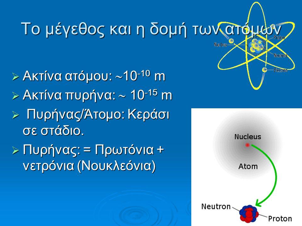 Το μέγεθος και η δομή των ατόμων  Aκτίνα ατόμου:  10 -10 m  Ακτίνα πυρήνα:  10 -15 m  Πυρήνας/Άτομο: Kεράσι σε στάδιο.  Πυρήνας: = Πρωτόνια + νε