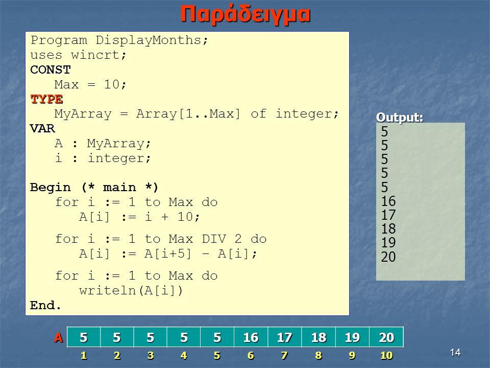 14 Παράδειγμα Program DisplayMonths; uses wincrt;CONST Max = 10;TYPE MyArray = Array[1..Max] of integer;VAR A : MyArray; i : integer; Begin (* main *)