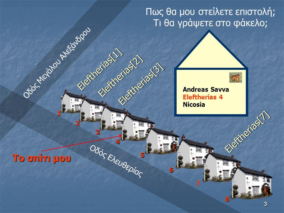 3 Πως θα μου στείλετε επιστολή; Τι θα γράψετε στο φάκελο; Οδός Μεγάλου Αλεξάνδρου Οδός Ελευθερίας Andreas Savva Eleftherias 4 Nicosia Το σπίτι μου 12