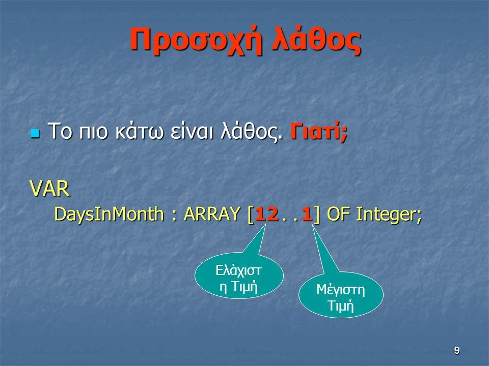 9 Προσοχή λάθος  Το πιο κάτω είναι λάθος. Γιατί; VAR DaysInMonth : ARRAY [12.. 1] OF Integer; Ελάχιστ η Τιμή Μέγιστη Τιμή
