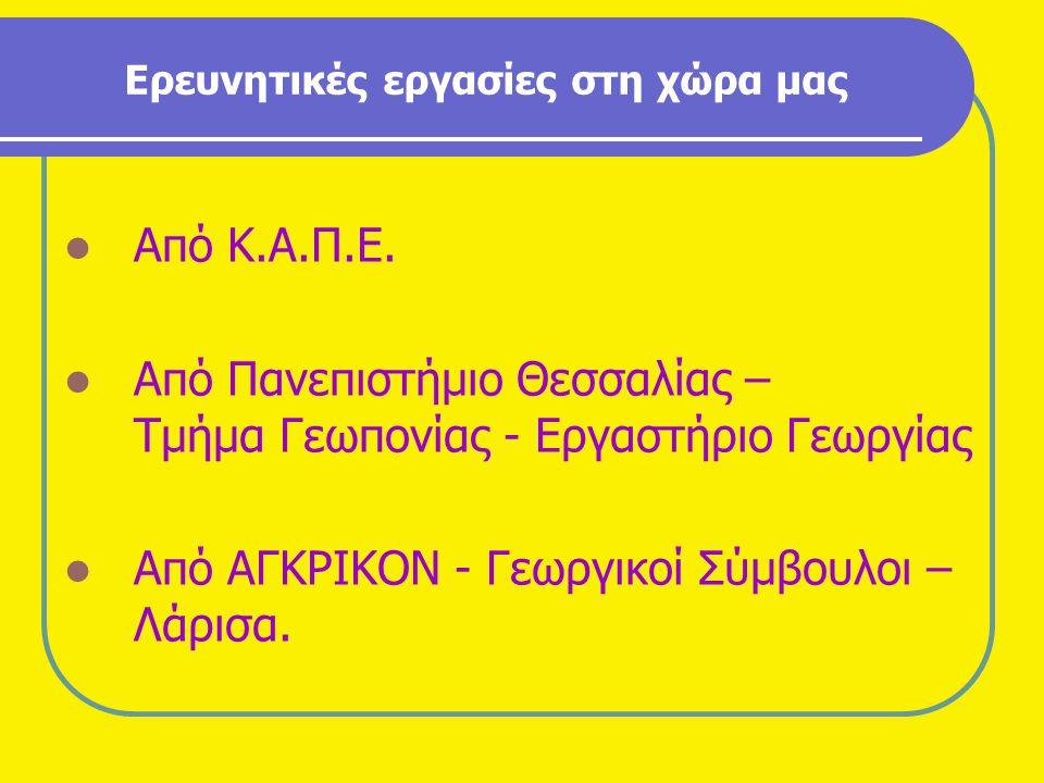 Ερευνητικές εργασίες στη χώρα μας ΑΑπό Κ.Α.Π.Ε. ΑΑπό Πανεπιστήμιο Θεσσαλίας – Τμήμα Γεωπονίας - Εργαστήριο Γεωργίας ΑΑπό ΑΓΚΡΙΚΟΝ - Γεωργικοί Σύ